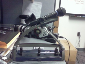 Mic Stand and 3 Hole Punch