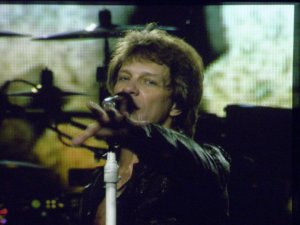 Photo of Jon Bon Jovi from the big screen at recent concert