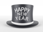 Happy New Year written on a black top hat