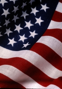 Portion of a United States flag waving