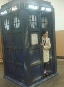 15 year old girl cosplaying as Castiel in War Doctor's TARDIS