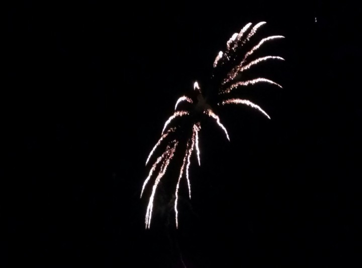 White ring of fireworks looking like a firework