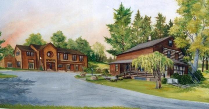 A beautiful rendering of the Goldhaber-Fend Fine Arts Center & the Log Cabin, home to the Community Arts Center of Cambria County.
