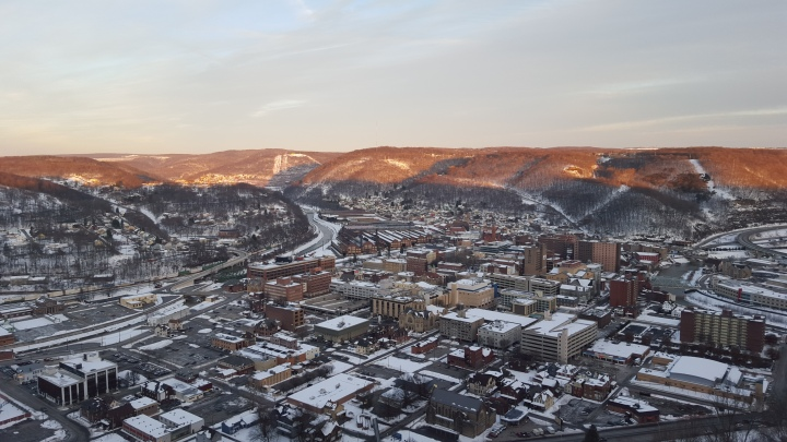 City of Johnstown, Pennsylvania under a dusting of snow.