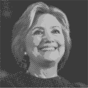 Dot matrix picture of Hillary Clinton